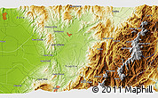 """Physical 3D Map of the area around 9°36'8""""N,70°28'29""""W"""