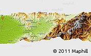 """Physical Panoramic Map of the area around 9°36'8""""N,70°28'29""""W"""