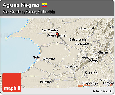 Free Shaded Relief Panoramic Map of Aguas Negras