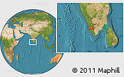 """Satellite Location Map of the area around 9°36'8""""N,76°34'29""""E"""