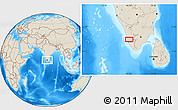 """Shaded Relief Location Map of the area around 9°36'8""""N,76°34'29""""E"""