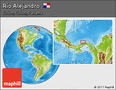Physical Location Map of Río Alejandro