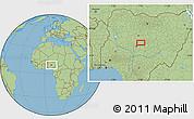 "Savanna Style Location Map of the area around 9°36'8""N,7°43'29""E"