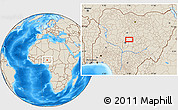 """Shaded Relief Location Map of the area around 9°36'8""""N,7°43'29""""E"""