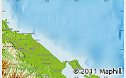 """Physical Map of the area around 9°36'8""""N,82°22'30""""W"""