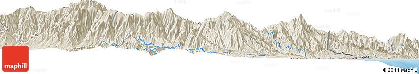"""Shaded Relief Horizon Map of the Area around 9° 36' 8"""" N, 83° 13' 29"""" W"""