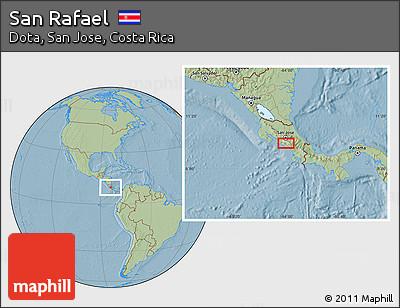 Savanna Style Location Map of San Rafael, hill shading
