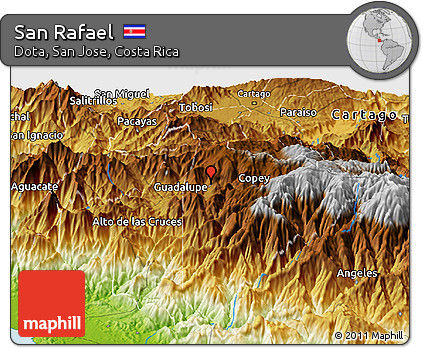 Physical Panoramic Map of San Rafael