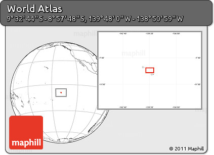 """Blank Location Map of the Area around 9°15'16""""S,139°19'29""""W"""