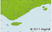 """Physical Map of the area around 9°15'16""""S,142°52'30""""E"""