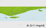 """Physical Panoramic Map of the area around 9°15'16""""S,142°52'30""""E"""