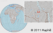 Gray Location Map of Mporokoso, hill shading