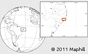 """Blank Location Map of the area around 9°15'16""""S,35°37'30""""W"""
