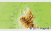 """Physical 3D Map of the area around 9°15'16""""S,74°43'29""""W"""