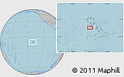 """Gray Location Map of the area around 9°46'31""""S,140°10'30""""W, hill shading"""