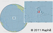 """Savanna Style Location Map of the area around 9°46'31""""S,140°10'30""""W, hill shading"""