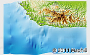 """Physical 3D Map of the area around 9°46'31""""S,159°52'30""""E"""