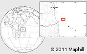 """Blank Location Map of the area around 9°46'31""""S,41°43'30""""E"""