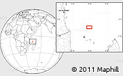 """Blank Location Map of the area around 9°46'31""""S,44°16'29""""E"""