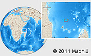 """Shaded Relief Location Map of the area around 9°46'31""""S,44°16'29""""E"""