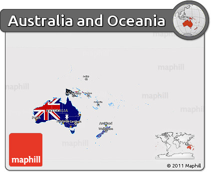 Free 3d Map Of Australia.Free Flag 3d Map Of Australia And Oceania