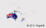Flag 3D Map of Australia and Oceania
