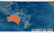 Political Shades 3D Map of Australia and Oceania, darken