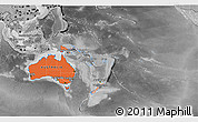 Political Shades 3D Map of Australia and Oceania, desaturated