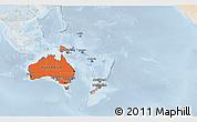 Political Shades 3D Map of Australia and Oceania, lighten