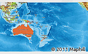 Political Shades 3D Map of Australia and Oceania, physical outside