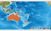 Political Shades 3D Map of Australia and Oceania, satellite outside, bathymetry sea