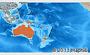 Political Shades 3D Map of Australia and Oceania, semi-desaturated, land only