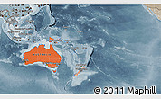 Political Shades 3D Map of Australia and Oceania, semi-desaturated