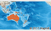 Political Shades 3D Map of Australia and Oceania, shaded relief outside, bathymetry sea