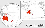 Blank Location Map of Australia and Oceania