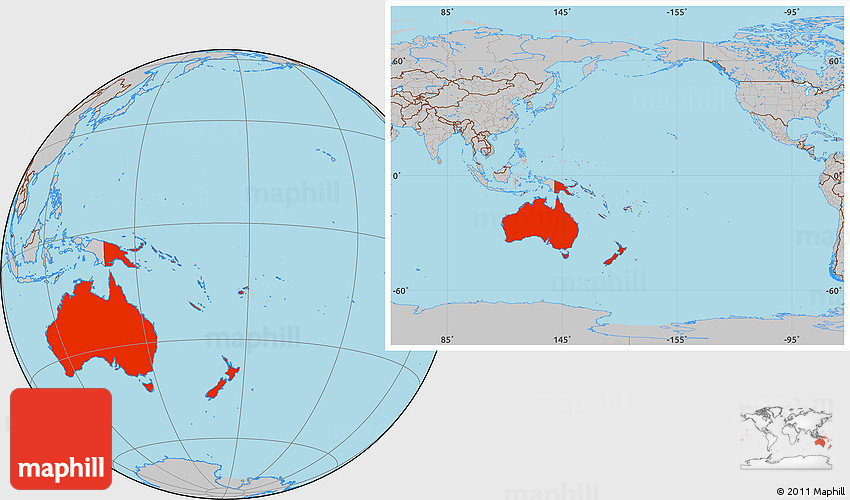 Australia Location Map.Gray Location Map Of Australia And Oceania