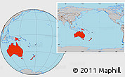 Gray Location Map of Australia and Oceania
