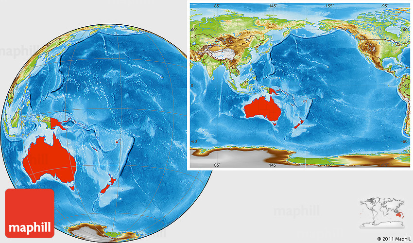 Australia Location Map.Physical Location Map Of Australia And Oceania