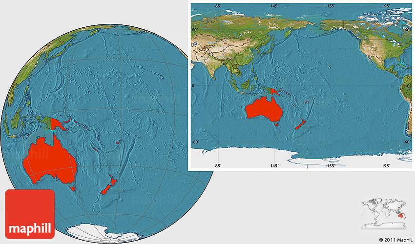 satellite location map of australia and oceania