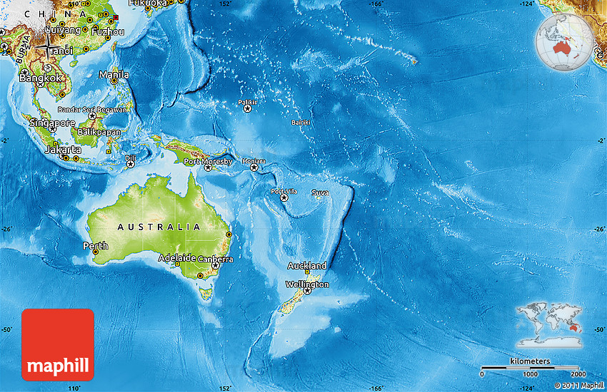 Physical Map Of Australia And Oceania - Physical map of oceania