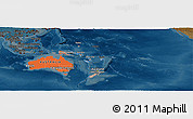 Political Shades Panoramic Map of Australia and Oceania, darken