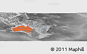 Political Shades Panoramic Map of Australia and Oceania, desaturated