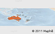 Political Shades Panoramic Map of Australia and Oceania, lighten