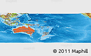 Political Shades Panoramic Map of Australia and Oceania, physical outside