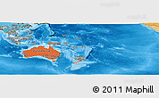 Political Shades Panoramic Map of Australia and Oceania
