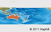 Political Shades Panoramic Map of Australia and Oceania, satellite outside, bathymetry sea