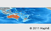 Political Shades Panoramic Map of Australia and Oceania, semi-desaturated, land only