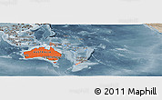 Political Shades Panoramic Map of Australia and Oceania, semi-desaturated