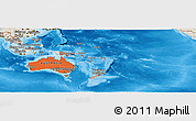 Political Shades Panoramic Map of Australia and Oceania, shaded relief outside, bathymetry sea