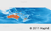 Political Shades Panoramic Map of Australia and Oceania, single color outside